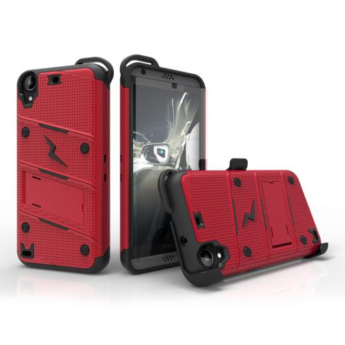 [HTC Desire 530] Case - [BOLT] Heavy Duty Cover w/ Kickstand, Holster, Tempered Glass Screen Protector & Lanyard [Red/ Black]