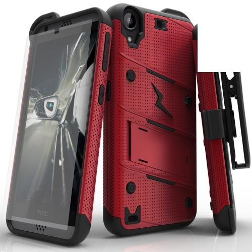 HTC Desire 530 Case - [bolt] Heavy Duty Cover w/ Kickstand, Holster, Tempered Glass Screen Protector & Lanyard [Red/ Black] - (ID: BOLT-HTC530-RDBK)