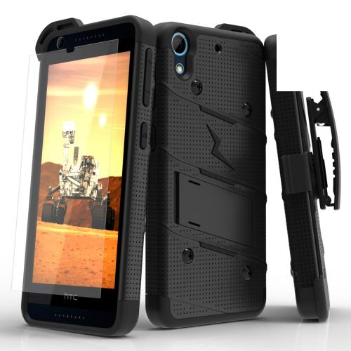 HTC Desire 626/ 626S Case - [bolt] Heavy Duty Cover w/ Kickstand, Holster, Tempered Glass Screen Protector & Lanyard [Black] - (ID: BOLT-HTC626-BKBK)
