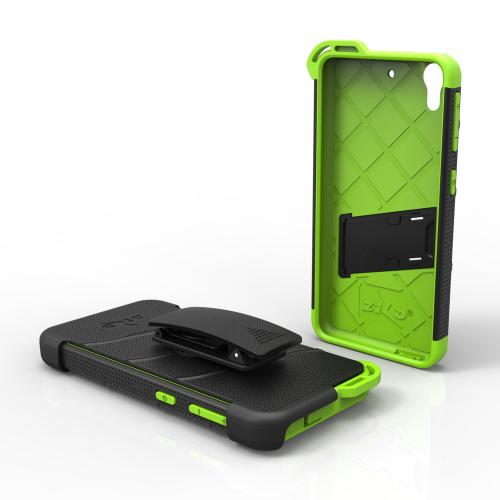 HTC Desire 626/ 626S Case - [bolt] Heavy Duty Cover w/ Kickstand, Holster, Tempered Glass Screen Protector & Lanyard [Black/ Neon Green] - (ID: BOLT-HTC626-BKNGR)