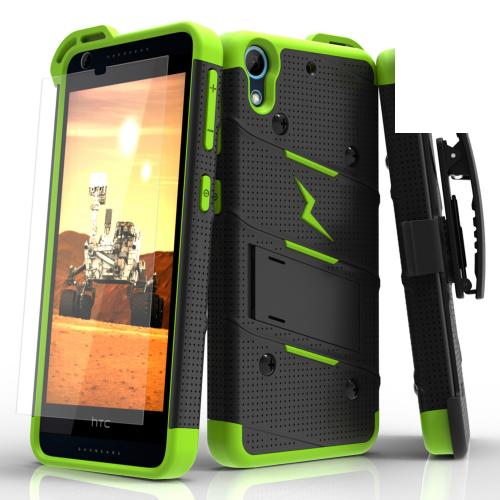 HTC Desire 626/ 626S Case - [BOLT] Heavy Duty Cover w/ Kickstand, Holster, Tempered Glass Screen Protector & Lanyard [Black/ Neon Green]
