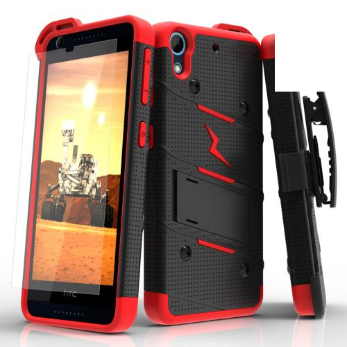 HTC Desire 626/ 626S Case - [bolt] Heavy Duty Cover w/ Kickstand, Holster, Tempered Glass Screen Protector & Lanyard [Black/ Red] - (ID: BOLT-HTC626-BKRD)