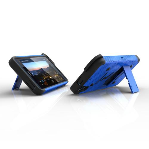 HTC Desire 626/ 626S Case - [bolt] Heavy Duty Cover w/ Kickstand, Holster, Tempered Glass Screen Protector & Lanyard [Blue/ Black] - (ID: BOLT-HTC626-BLBK)