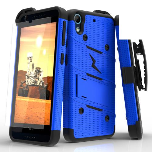 HTC Desire 626/ 626S Case - [BOLT] Heavy Duty Cover w/ Kickstand, Holster, Tempered Glass Screen Protector & Lanyard [Blue/ Black]