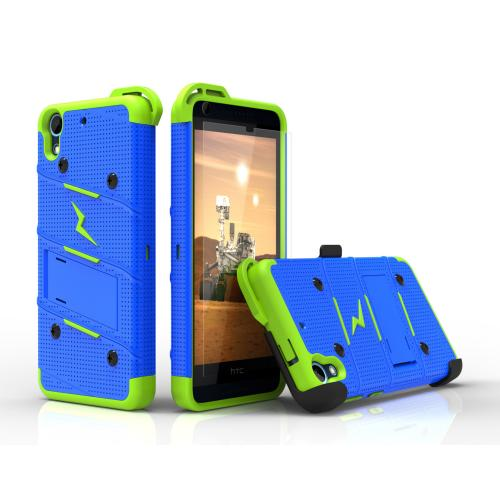 HTC Desire 626/ 626S Case - [BOLT] Heavy Duty Cover w/ Kickstand, Holster, Tempered Glass Screen Protector & Lanyard [Blue/ Neon Green]