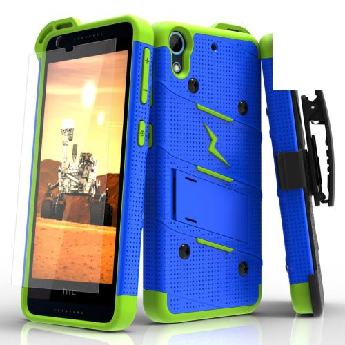 HTC Desire 626/ 626S Case - [bolt] Heavy Duty Cover w/ Kickstand, Holster, Tempered Glass Screen Protector & Lanyard [Blue/ Neon Green] - (ID: BOLT-HTC626-BLNGR)