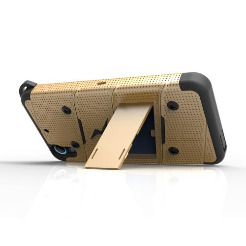 HTC Desire 626/ 626S Case - [bolt] Heavy Duty Cover w/ Kickstand, Holster, Tempered Glass Screen Protector & Lanyard [Gold/ Black] - (ID: BOLT-HTC626-GDBK)