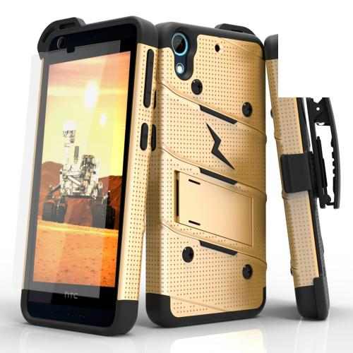 HTC Desire 626/ 626S Case - [BOLT] Heavy Duty Cover w/ Kickstand, Holster, Tempered Glass Screen Protector & Lanyard [Gold/ Black]