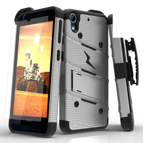 HTC Desire 626/ 626S Case - [bolt] Heavy Duty Cover w/ Kickstand, Holster, Tempered Glass Screen Protector & Lanyard [Gray/ Black] - (ID: BOLT-HTC626-GRBK)
