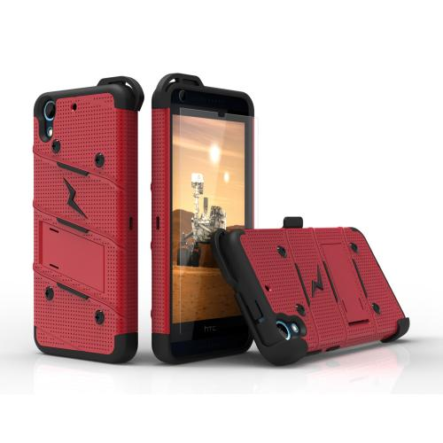 HTC Desire 626/ 626S Case - [BOLT] Heavy Duty Cover w/ Kickstand, Holster, Tempered Glass Screen Protector & Lanyard [Red/ Black]
