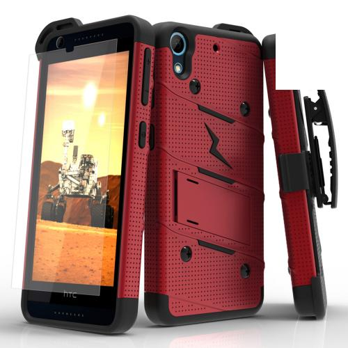HTC Desire 626/ 626S Case - [bolt] Heavy Duty Cover w/ Kickstand, Holster, Tempered Glass Screen Protector & Lanyard [Red/ Black] - (ID: BOLT-HTC626-RDBK)