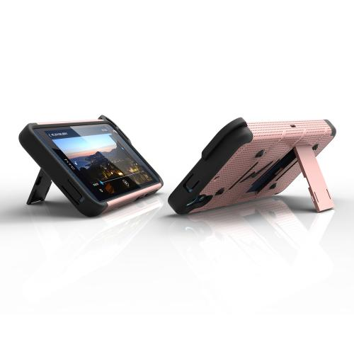 HTC Desire 626/ 626S Case - [BOLT] Heavy Duty Cover w/ Kickstand, Holster, Tempered Glass Screen Protector & Lanyard [Rose Gold/ Black]