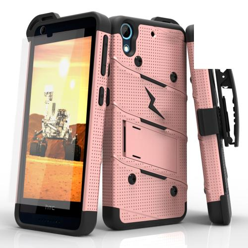 HTC Desire 626/ 626S Case - [bolt] Heavy Duty Cover w/ Kickstand, Holster, Tempered Glass Screen Protector & Lanyard [Rose Gold/ Black] - (ID: BOLT-HTC626-RGDBK)