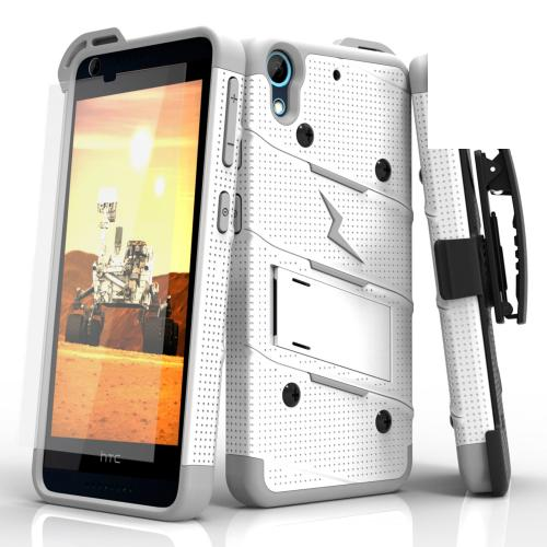 HTC Desire 626/ 626S Case - [BOLT] Heavy Duty Cover w/ Kickstand, Holster, Tempered Glass Screen Protector & Lanyard [White/ Gray]