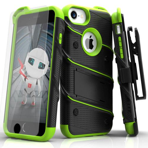 Apple iPhone 6S/6 (4.7 inch) Case - [BOLT] Heavy Duty Cover w/ Kickstand, Holster, Tempered Glass Screen Protector & Lanyard [Black/ Neon Green]