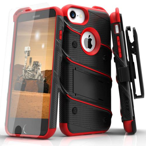 [Apple iPhone 6/6S] (4.7 inch) Case - [BOLT] Heavy Duty Cover w/ Kickstand, Holster, Tempered Glass Screen Protector & Lanyard [Black/ Red]