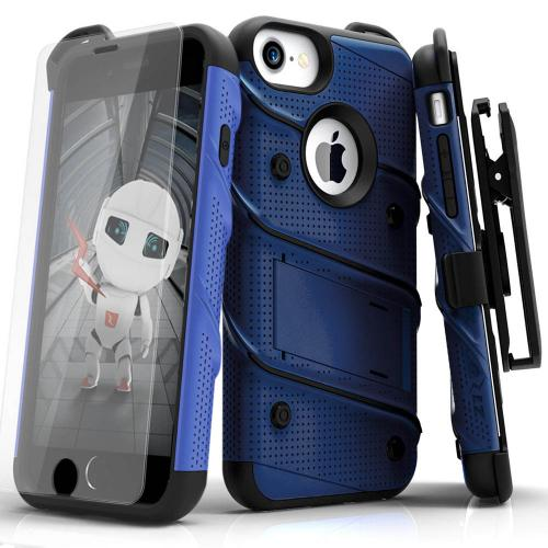 [Apple iPhone 6/6S] (4.7 inch) Case - [BOLT] Heavy Duty Cover w/ Kickstand, Holster, Tempered Glass Screen Protector & Lanyard [Blue/ Black]