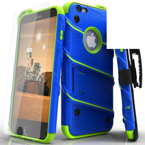 Apple iPhone 6S/6 (4.7 inch) Case - [BOLT] Heavy Duty Cover w/ Kickstand, Holster, Tempered Glass Screen Protector & Lanyard [Blue/ Neon Green]