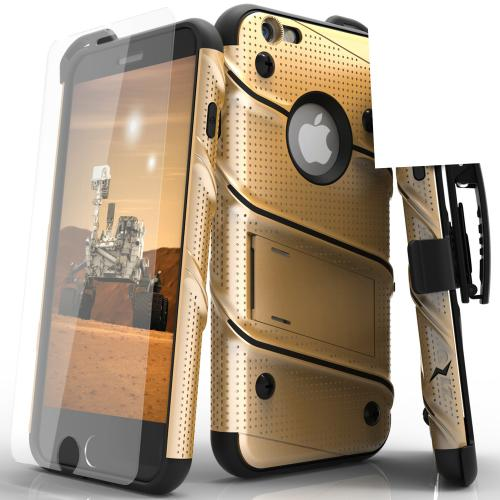 [Apple iPhone 6/6S] (4.7 inch) Case - [BOLT] Heavy Duty Cover w/ Kickstand, Holster, Tempered Glass Screen Protector & Lanyard [Gold/ Black]