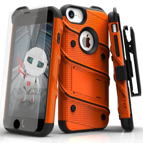 [Apple iPhone 6/6S] (4.7 inch) Case - [BOLT] Heavy Duty Cover w/ Kickstand, Holster, Tempered Glass Screen Protector & Lanyard [Orange]