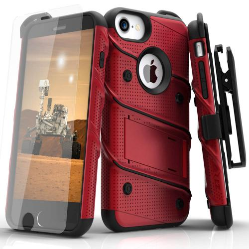 [Apple iPhone 6/6S] (4.7 inch) Case - [BOLT] Heavy Duty Cover w/ Kickstand, Holster, Tempered Glass Screen Protector & Lanyard [Red/ Black]