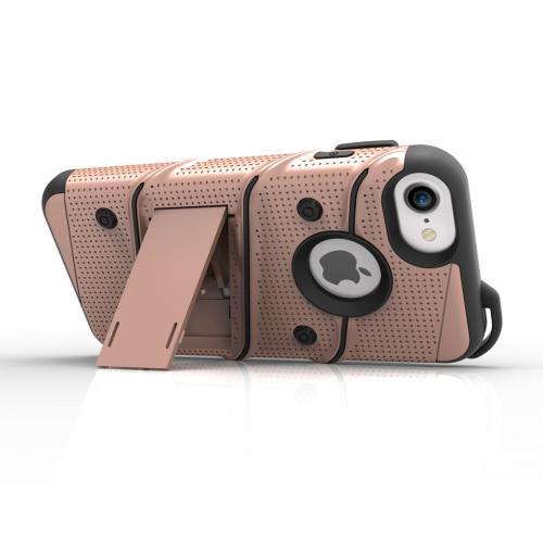 [Apple iPhone 6/6S] (4.7 inch) Case - [BOLT] Heavy Duty Cover w/ Kickstand, Holster, Tempered Glass Screen Protector & Lanyard [Rose Gold]