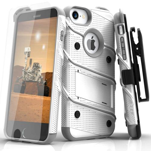 [Apple iPhone 6/6S] (4.7 inch) Case - [BOLT] Heavy Duty Cover w/ Kickstand, Holster, Tempered Glass Screen Protector & Lanyard [White/Gray]