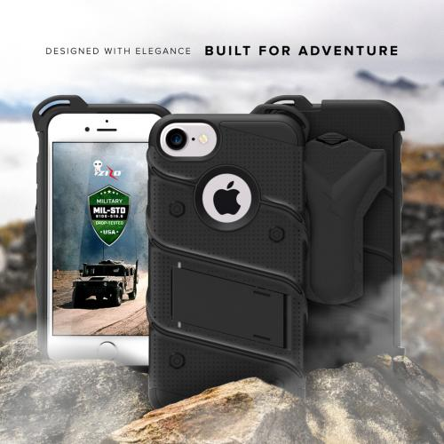 Apple iPhone 7 (4.7 inch) Case - [BOLT] Heavy Duty Cover w/ Kickstand, Holster, Tempered Glass Screen Protector & Lanyard [Black]