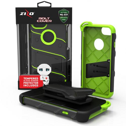 [Apple iPhone 7] (4.7 inch) Case - [BOLT] Heavy Duty Cover w/ Kickstand, Holster, Tempered Glass Screen Protector & Lanyard [Black/ Neon Green]