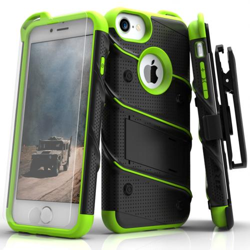Apple iPhone 7 (4.7 inch) Case - [BOLT] Heavy Duty Cover w/ Kickstand, Holster, Tempered Glass Screen Protector & Lanyard [Black/ Neon Green]