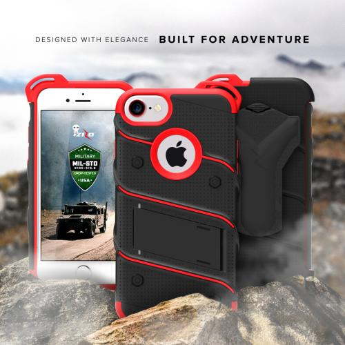 Apple iPhone 7 (4.7 inch) Case - [BOLT] Heavy Duty Cover w/ Kickstand, Holster, Tempered Glass Screen Protector & Lanyard [Black/ Red]