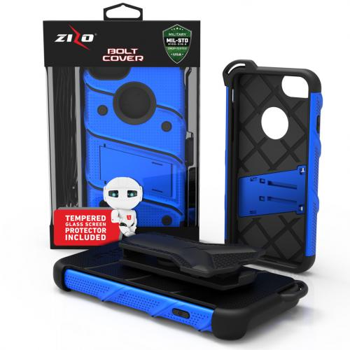 Apple iPhone 7 (4.7 inch) Case - [BOLT] Heavy Duty Cover w/ Kickstand, Holster, Tempered Glass Screen Protector & Lanyard [Blue/ Black]