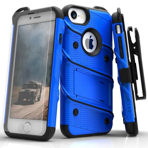 [Apple iPhone 7] (4.7 inch) Case - [BOLT] Heavy Duty Cover w/ Kickstand, Holster, Tempered Glass Screen Protector & Lanyard [Blue/ Black]