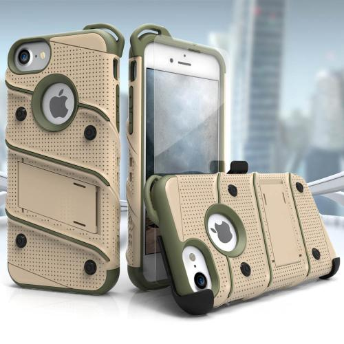 [Apple iPhone 7] (4.7 inch) Case - [BOLT] Heavy Duty Cover w/ Kickstand, Holster, Tempered Glass Screen Protector & Lanyard [Desert Tan/ Camo Green]