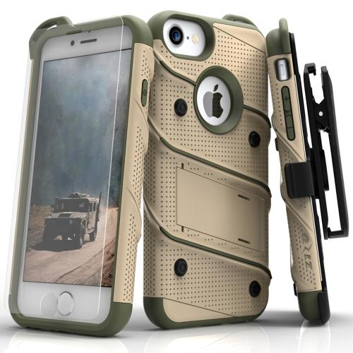 Apple iPhone 7 (4.7 inch) Case - [BOLT] Heavy Duty Cover w/ Kickstand, Holster, Tempered Glass Screen Protector & Lanyard [Desert Tan/ Camo Green]