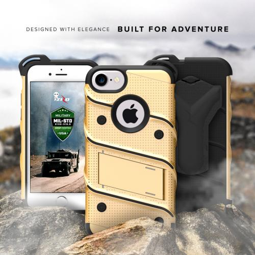 [Apple iPhone 7] (4.7 inch) Case - [BOLT] Heavy Duty Cover w/ Kickstand, Holster, Tempered Glass Screen Protector & Lanyard [Gold/ Black]