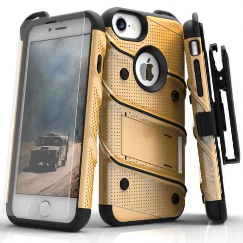 Apple iPhone 7 (4.7 inch) Case - [BOLT] Heavy Duty Cover w/ Kickstand, Holster, Tempered Glass Screen Protector & Lanyard [Gold/ Black]