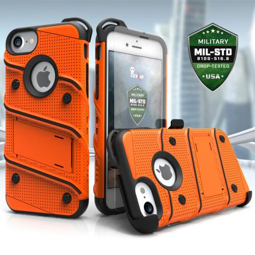 [Apple iPhone 7] (4.7 inch) Case - [BOLT] Heavy Duty Cover w/ Kickstand, Holster, Tempered Glass Screen Protector & Lanyard [Orange/ Black]