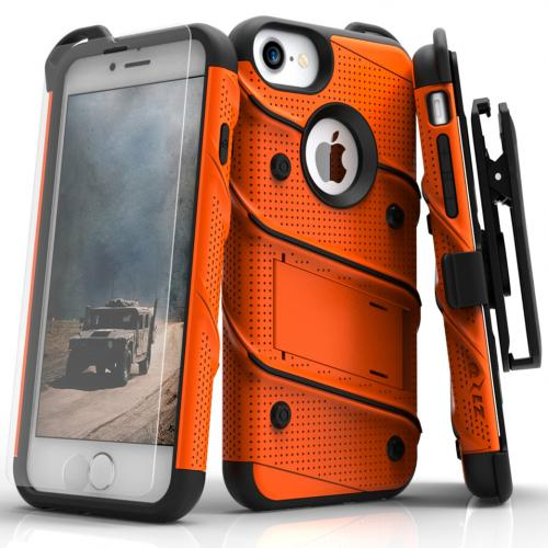 Apple iPhone 7 (4.7 inch) Case - [BOLT] Heavy Duty Cover w/ Kickstand, Holster, Tempered Glass Screen Protector & Lanyard [Orange/ Black]
