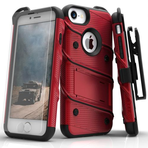 [Apple iPhone 7] (4.7 inch) Case - [BOLT] Heavy Duty Cover w/ Kickstand, Holster, Tempered Glass Screen Protector & Lanyard [Red/ Black]