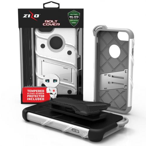 [Apple iPhone 7] (4.7 inch) Case - [BOLT] Heavy Duty Cover w/ Kickstand, Holster, Tempered Glass Screen Protector & Lanyard [White/ Gray]