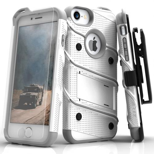 Apple iPhone 7 (4.7 inch) Case - [BOLT] Heavy Duty Cover w/ Kickstand, Holster, Tempered Glass Screen Protector & Lanyard [White/ Gray]