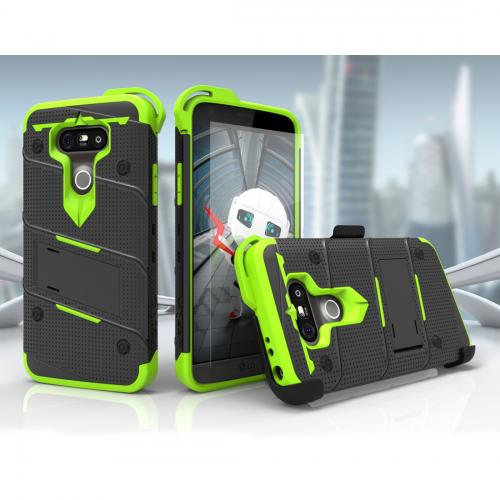 [LG G5] Case - [BOLT] Heavy Duty Cover w/ Kickstand, Holster, Tempered Glass Screen Protector & Lanyard [Black/ Neon Green]