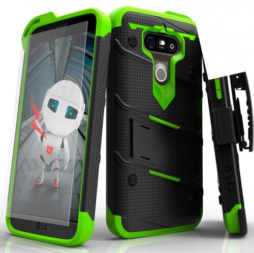 LG G5 Case - [BOLT] Heavy Duty Cover w/ Kickstand, Holster, Tempered Glass Screen Protector & Lanyard [Black/ Neon Green]