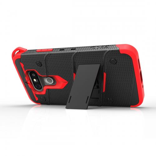 LG G5 Case - [BOLT] Heavy Duty Cover w/ Kickstand, Holster, Tempered Glass Screen Protector & Lanyard [Black/ Red]