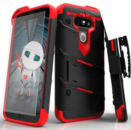 [LG G5] Case - [BOLT] Heavy Duty Cover w/ Kickstand, Holster, Tempered Glass Screen Protector & Lanyard [Black/ Red]