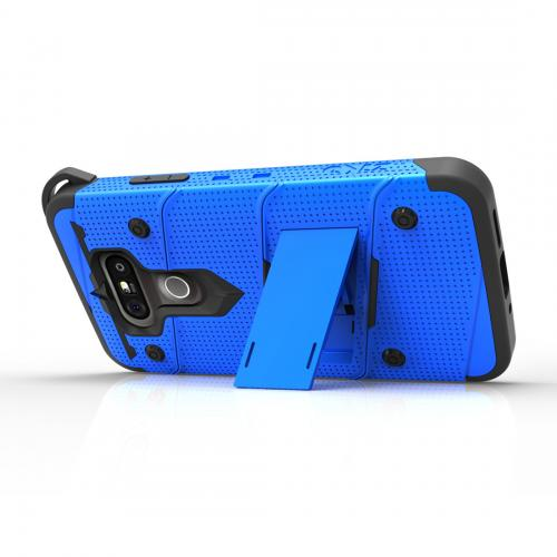 [LG G5] Case - [BOLT] Heavy Duty Cover w/ Kickstand, Holster, Tempered Glass Screen Protector & Lanyard [Blue/ Black]