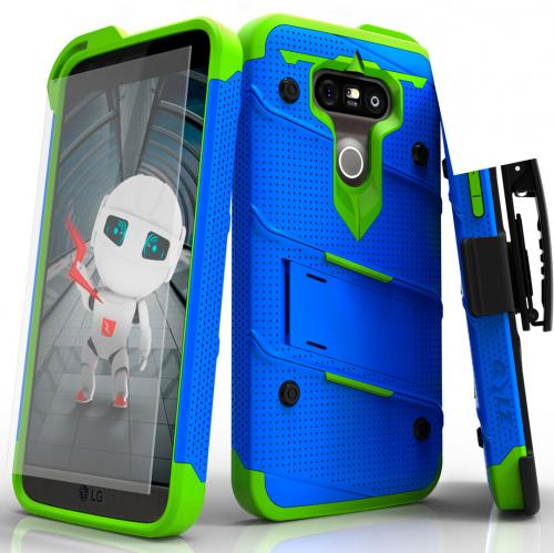 [LG G5] Case - [BOLT] Heavy Duty Cover w/ Kickstand, Holster, Tempered Glass Screen Protector & Lanyard [Blue/ Neon Green]