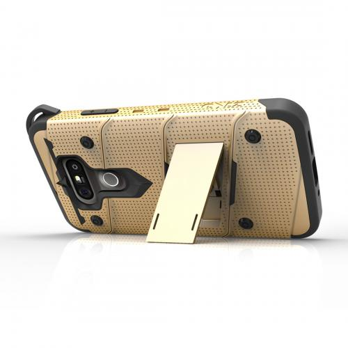 [LG G5] Case - [BOLT] Heavy Duty Cover w/ Kickstand, Holster, Tempered Glass Screen Protector & Lanyard [Gold/ Black]