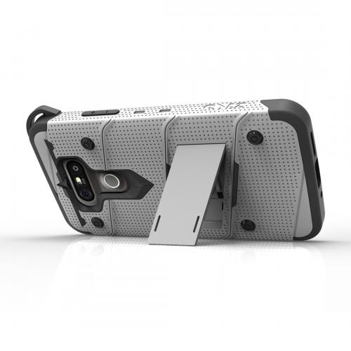 LG G5 Case - [BOLT] Heavy Duty Cover w/ Kickstand, Holster, Tempered Glass Screen Protector & Lanyard [Gray/ Black]